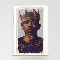 kendrick lamar Stationery Cards featuring King Kendrick by GerritakaJey