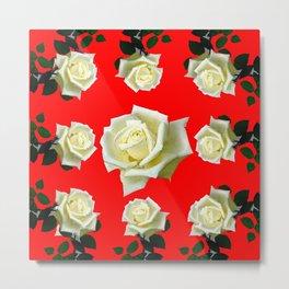 WHITE ROSES RED GARDEN DESIGN Metal Print