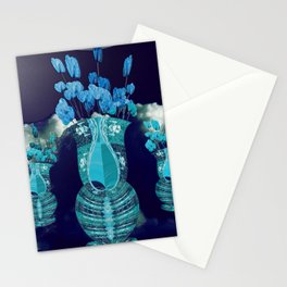 Moon with Clouds and Flowers Still Life Landscape Stationery Cards