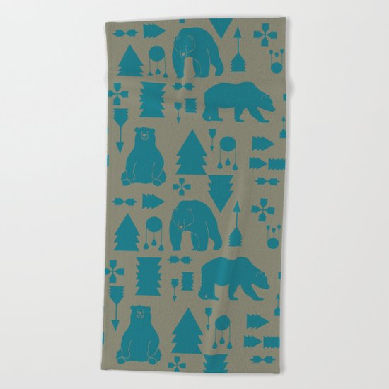 Tribal Bear Blue Beach Towel