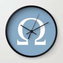 Greek letter Omega sign on placid blue background Wall Clock