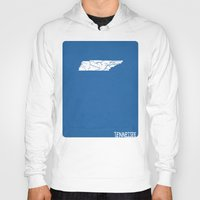 tennessee Hoodies featuring Tennessee Minimalist Vintage Map by Finlay McNevin