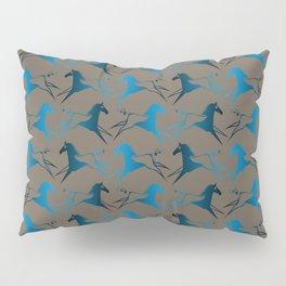 Blue Brown War Horse Pillow Sham