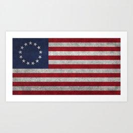 USA Betsy Ross flag - Vintage Retro Style Art Print