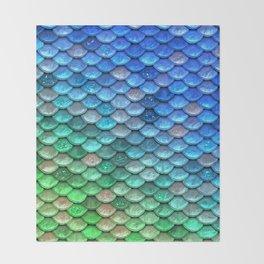 Aqua Teal & Green Shiny Mermaid Glitter Scales Throw Blanket