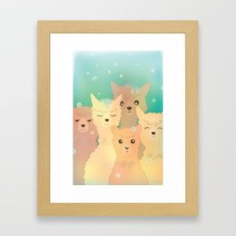 Alpaca Family I - Mint Green Snow Background Framed Art Print
