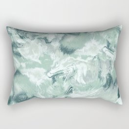 Marble Mist Green Grey Rectangular Pillow
