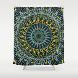 Blue and yellow mandala Shower Curtain
