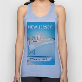 Atlantic City, New Jersey - Skyline Illustration by Loose Petals Unisex Tank Top