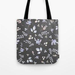 Spring watercolor leaves & tulips on dark grey background Tote Bag
