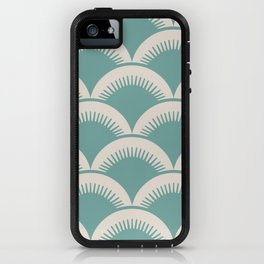 Japanese Fan Pattern Foam Green and Beige iPhone Case