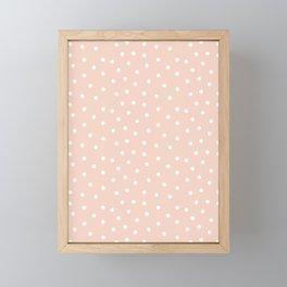 Scatter dots on peach pink Framed Mini Art Print