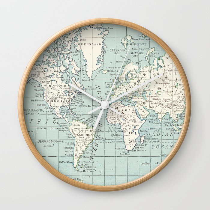Clock World Map.World Map In Blue And Cream Wall Clock By Catherineholcombe Society6
