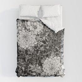 Dahlias & Peonies Black Duvet Cover