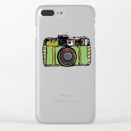 Vintage film camera and bicycles, seamless pattern pastel colors Clear iPhone Case