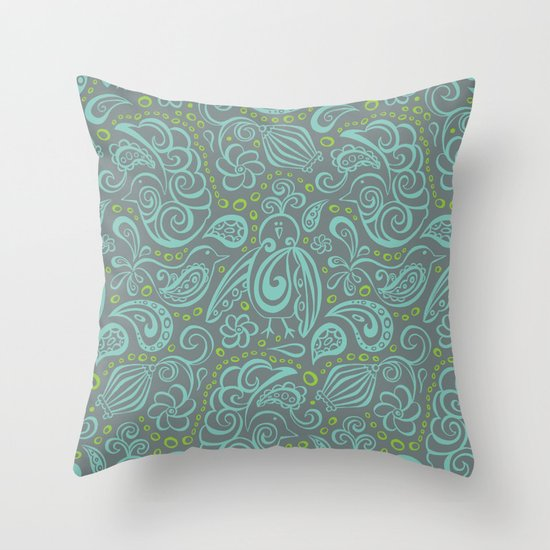 Festooned Feathered Friends Throw Pillow