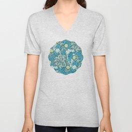 William Morris,art nouveau pattern, seaweed,blue,florals,vintage Unisex V-Neck