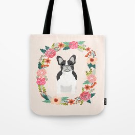 french bulldog black and white floral wreath flowers dog breed gifts corgis Tote Bag