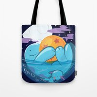 dragonball z Tote Bags featuring Quagsire & Dragonball by Valechu
