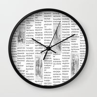 pride and prejudice Wall Clocks featuring Pride and Prejudice by Rachel Bradford