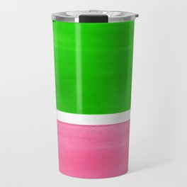 Colorful Bright Minimalist Rothko Color Field Midcentury Vintage Pop Art Petal Pink Leaf Green Travel Mug