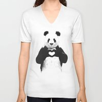 bears V-neck T-shirts featuring All you need is love by Balazs Solti