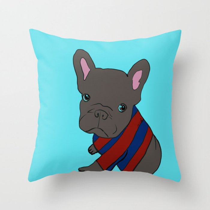 French Bull Dog Puppy in a Sweater Throw Pillow