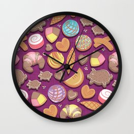 Mexican Sweet Bakery Frenzy // pink background // pastel colors pan dulce Wall Clock
