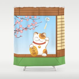 Maneki Neko Shower Curtain