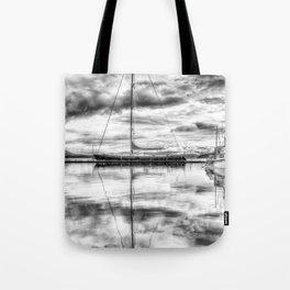 Silver Sailboat Tote Bag