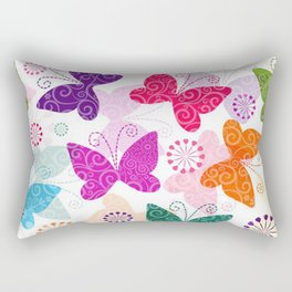 Colorful Butterflies and Flowers V1 Rectangular Pillow