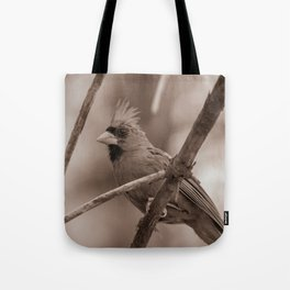 Northern Red Cardinal BW Tote Bag