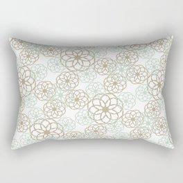 Green & Brown Floral Pattern Rectangular Pillow