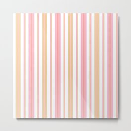 Coral and Gold Stripes Metal Print