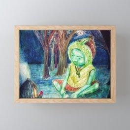 Boy in Hat (v2) Framed Mini Art Print