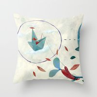 voyage Throw Pillows featuring voyage by flaviasorr