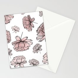 Hand Drawn Peonies Dusty Rose Stationery Cards