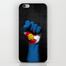 Colorado Flag on a Raised Clenched Fist iPhone Skin