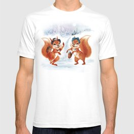Greeting Christmas card in vintage style T-shirt
