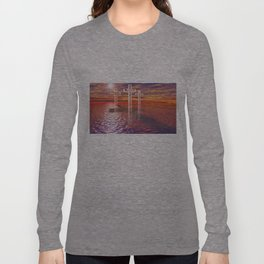 Christian crosses on red sea Long Sleeve T-shirt
