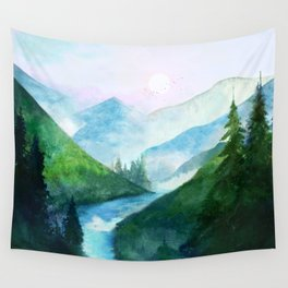 Mountain River Wall Tapestry