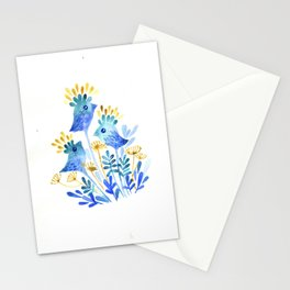 Blue birds-flowers Stationery Cards