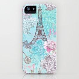 I love Paris-blue vintage illustration iPhone Case