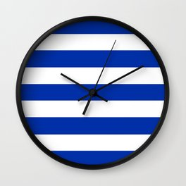 International Klein Blue - solid color - white stripes pattern Wall Clock