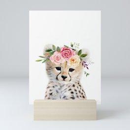 Baby Cheetah with Flower Crown Mini Art Print