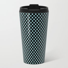 Black and Aqua Haze Polka Dots Travel Mug