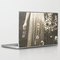 woodstock Laptop & iPad Skins featuring Flower Child 2 Black and White by Olivia Joy StClaire