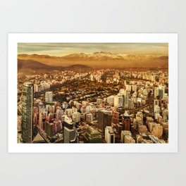 Santiago de Chile Aerial View from San Cristobal Hill Art Print