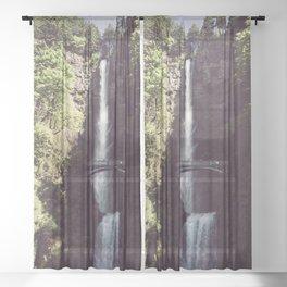 Multnomah Falls Waterfall - Nature Photography Sheer Curtain