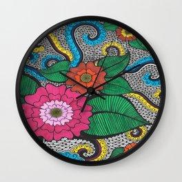 Octopus Flower (Color) Wall Clock